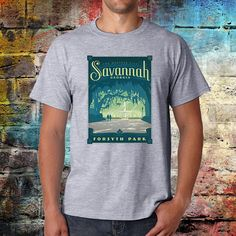 Georgia city Tshirt  Savannah Tee  Vintage travel print
