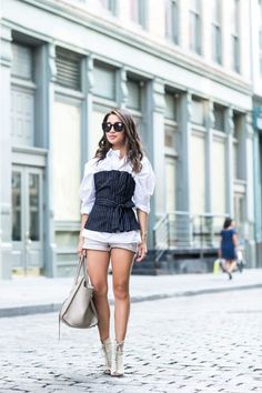 Shapes and Stripes :: Pinstripe corset & Cotton tunic | Wendy's Lookbook | Bloglovin'
