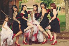 Rockabilly wedding bridal party photos - Love that the bride gets to wear comfy boots ; Gothic Wedding, Red Wedding, Wedding Pics, Wedding Bells, Wedding Ideas, Wedding Colors, Horror Wedding, Medieval Wedding, Wedding Album