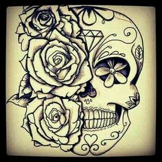 black and white sugar skull girl tattoo Rose Tattoos, Flower Tattoos, Body Art Tattoos, Tattoo Drawings, Girl Tattoos, Sleeve Tattoos, Garter Tattoos, Heart Tattoos, Tattoo Roses