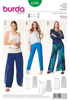 Burda Ladies Plus Size Easy Sewing Pattern 6788 Trouser Pants in 3 Styles (Bu...