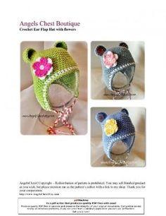 Free Crochet Ear Flap Hat with Flowers pattern. by M'reen Teo
