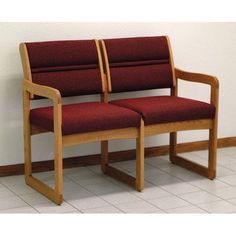 Wooden Mallet Valley Two Seat Guest Chair Wood Finish: Light Oak, Fabric: Leaf Green, Arms: Center Arm Not Included