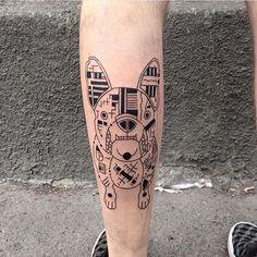 French bulldog tattoo Done by @evgeniy.tkachenko  #whichinkilike #tattoogallery #linework #blackwork #dotwork #dotworktattoo #dogtattoo #geometrytattoo #cosmicresonanceart