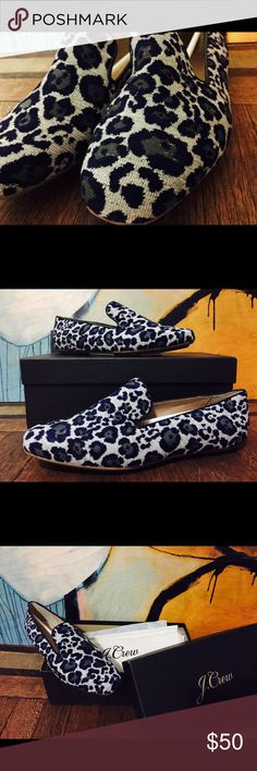 J. Crew - Georgie Loafers - Grey/Blue - Sz 7 Awesome pair of Georgie Leopard Loafers for sale! Perfect for the casual chic professional. Original box and duster bag included. J. Crew Shoes Flats & Loafers