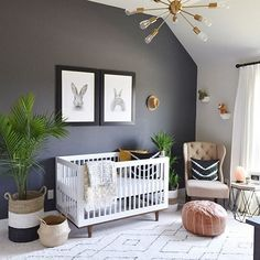 We love a bold wall in the nursery! This nursery has everything, including a place to hang his hat. Phot