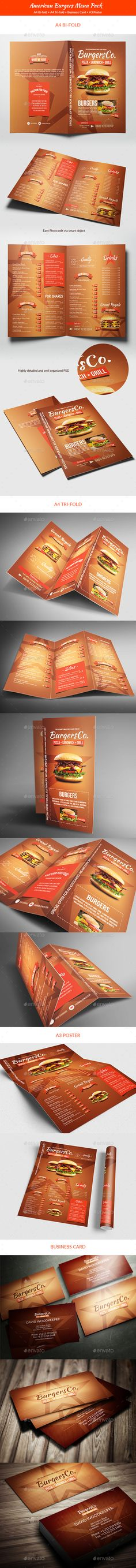 American Burgers Food Menu Pack Templates PSD #design Download: http://graphicriver.net/item/american-burgers-food-menu-pack/14352681?ref=ksioks