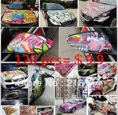 Free shipping 120-150pcs/lot  waterproof wall sticker home decor Doodle car sticker motorcycle mountain bike Decal $9.90