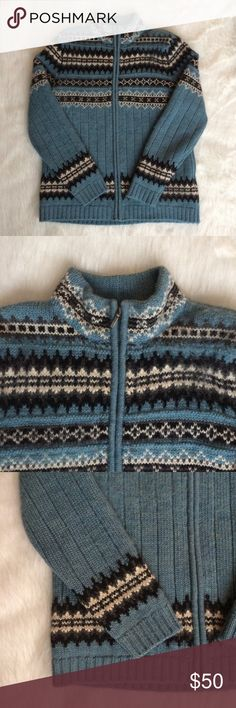 """Lands End Fair Isle Nordic Wool Sweater Small Pre-owned, Women's Land's End 100% Wool Zip Up Sweater/Cardigan  Fair Isle Nordic Pattern  Size Medium  Measurements while lying flat:  armpit to armpit: 19"""" sleeve length from armpit: 16.25"""" length from back of collar to bottom hem: 23.5"""" Lands' End Sweaters Cardigans"""