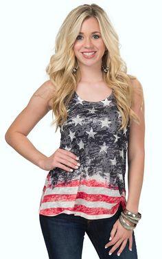 Karlie Women's Flag Burnout Tank Top | Cavender's