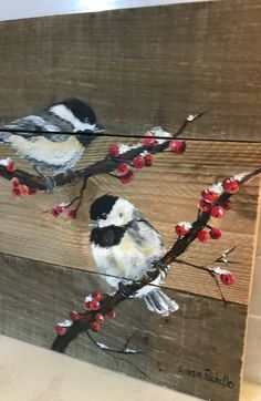 Items similar to Chickadee Pallet Painting, Distressed Wood Art on Etsy – Christmas paintings Wood Pallet Art, Pallet Painting, Wood Painting Art, Distressed Painting, Tole Painting, Distressed Wood, Wood Wood, Tela Shabby Chic, Pattern Art