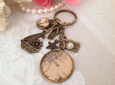 Vintage Map Photo Image Pendant with a Sailing Boart by PrettySang, $12.90