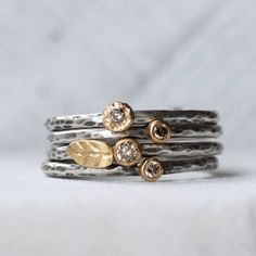 Tiny Diamond Leaf Ring Set - Natural brown Diamond 18k Gold and Silver Stack Rings - Set of 4 Diamond Stack Rings - Eco-Friendly Recycled by LilianGinebra on Etsy https://www.etsy.com/listing/218769592/tiny-diamond-leaf-ring-set-natural-brown