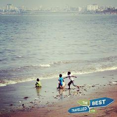 Children playing on the beach #Mumbai #India