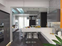 Hier sehen wir den Essbereich in der Küche aus. Fett weisse Hochglanz Arbeitsplatten erfüllen schiefergrau hell minimalistischen fächerförmig. Auf beiden Seiten füllt glatten grauen Schränke die Peripherie.