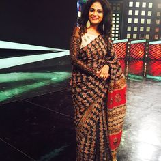 For the love of #kalamkari #saree with handembroideredblouse #statementblouse by #PRANAAH for#uggramujjwalam #mazhavilmanorama#indian #ethinicstyle