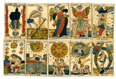 Museum number 1903,1221.22.1-76 Incomplete tarot pack with 76 of 78 playing-cards. The missing cards are I and II of the atouts. Hand-coloured woodcut Backs printed in blue with a pattern of small arrows 18th Century