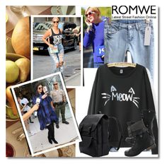 """""""Romwe.com contest - Win this letters print black sweatshirt!"""" by albinnaflower ❤ liked on Polyvore"""