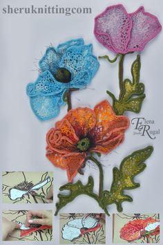 Freeform Crochet, Crochet Art, Crochet Home, Irish Crochet Charts, Irish Crochet Patterns, Crochet Flower Tutorial, Crochet Flowers, Crochet Video, Crochet Buttons