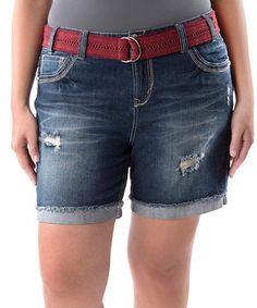82546b7cc5970a Look what I found on  zulily! Medium Wash Distressed Denim Shorts - Plus