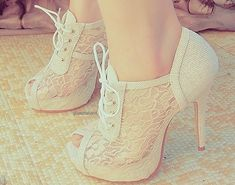 Very 30s feeling White Lace High Heels by LOVEMILY. vintage wedding ideas