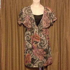 Paisley print short dress/tunic Maurice's size 1 (roughly a 16). Knee length and can be worn alone as a dress or paired with leggings and worn as a tunic! Dramatic print boasts beautiful colors and can be worn all year! Maurices Dresses Midi