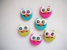 Button Simple Little Owls handmade polymer clay by digitsdesigns, $8.50