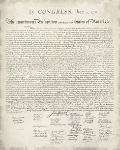 Free Printable United States Declaration of Independence