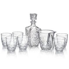 Bormioli Rocco Dedalo 9Piece Whiskey Decanter Set Six Rocks Glasses One Whiskey Decanter Ice Bucket  Tongs *** Click image for more details.