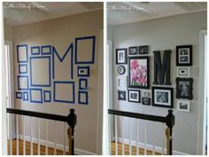 How To Make A Stunning Wall Gallery » This hallway gallery decoration is really awesome. I love how they used masking tape to plan out the layout and even included outlines for the switches and thermostat.