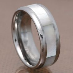 8mm Mother of Pearl Inlay Tungsten Carbide Round Edge Band Men's Wedding Ring FlameReflection. $24.99