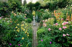 Woodchippings, Northants: Vista through the circle to the yew arch and stone piper with aquilegias, rosa 'Natalie Nypels' and verbascum 'Cotswold Beauty'. Clive Nichols Garden Photography.