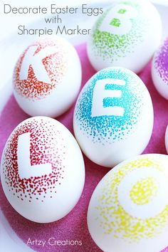 Decorate your Easter Eggs this year virtually mess free with Sharpie Marker and personalize them too!