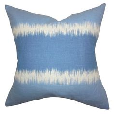 "The Pillow Collection Juba Geometric Linen Throw Pillow Color: Blue, Size: 24"" x 24"""