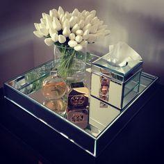 Mirror Home Decor, White tulips, Mirror tray, interior www.abodeaustralia.com