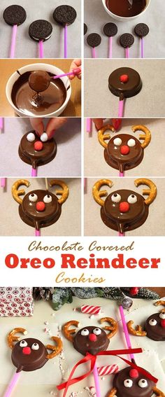 These tasty reindeer oreo cookies are great for a christmas or winter themed parties or just for a fun blustery afternoon. by silvia These tasty oreo reindeer cookies are great for a christmas or winter themed parties or just for a fun blustery afternoon. Christmas Deserts, Christmas Goodies, Holiday Desserts, Christmas Candy, Holiday Baking, Christmas Treats, Holiday Treats, Kids Christmas, Holiday Recipes
