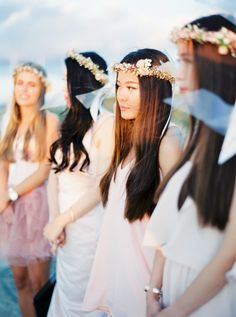 Gorgeous bridesmaid floral crowns: http://www.stylemepretty.com/destination-weddings/spain-weddings/2016/02/01/elegant-mallorca-wedding/ | Photography: Peaches And Mint - http://peachesandmint.com/