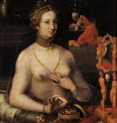 Renaissance Lady at her toilette.  Château d?Ecouen, Exhibition « The Bath and the Mirror ». Body Care and Cosmetics in the Renaissance.