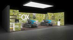 190 Landmaschinen FOX | Prägnanter Messestand für einen Hersteller von Erntemaschinen.   Der mittelgroße Reihenstand präsentiert authentische Naturaufnahmen auf der vollf...