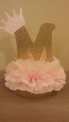 Princess or Prince Initial Tiara Glitter Centerpiece 1st birthday or baby shower table decor Royal little prince or princess pink and gold party decor by sophia