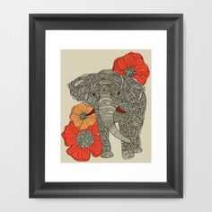 LOVE these elephant prints by Valentina Tanyadima-- will be putting in my gray bathroom