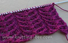 Simple lace stitch knitting pattern worked over four rows! Abbreviations: k = knit p = purl k2tog = knit 2 stitches together. ssk = slip, slip, knit. Slip two stitches knitwise one at a time onto the right needle, stick point of left needle in two slipped stitches in front of the right needle and…