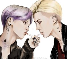 "LuHan and SeHun ""Rocker""  By: galaxyjun-fan (Jun Xi Lu) Please ♠️do not repost or edit♣️"