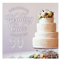 We've put together some of our favourite #wedding cake recipes  from Canadian Living in one simple package. From the traditional white #cake to more contemporary #recipes, we have you covered for all your wedding cake needs.   #weddings #cakes #cakerecipes #foodies