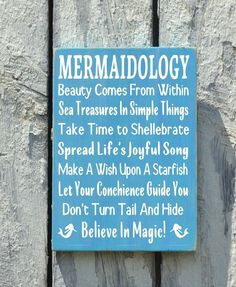 Mermaid Beach Signs, Beach Art Advice Rules Rustic Seaside Cottage House Room Decorations Postive Message Ocean Theme Wood Sign Girls Teens
