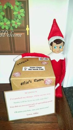 Elf Ollie is heading back to the North Pole for the year!  Elf on the Shelf idea.
