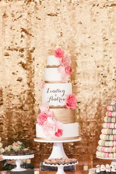 Gold Cake with Pink Wafer Paper Flowers By www.smoresweets.com
