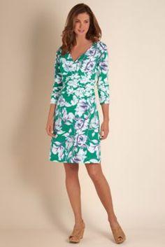Long Sleeve Shapely Anywhere Dress - Surplice Style Dress, Jersey Knit Dress   Soft Surroundings