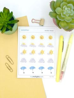 Weather Stickers, Kawaii Bullet Journal and Planner Stickers, Cute Weather Journal Stickers by MyMollyBlu on Etsy Journal Stickers, Printable Planner Stickers, Cute Planner, Happy Planner, Packaging Stickers, Kawaii Stickers, Bullet Journal Layout, Sticker Paper, Weather