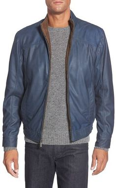 $599, Missani Le Collezioni Leather Bomber Jacket. Sold by Nordstrom. Click for more info: https://lookastic.com/men/shop_items/451793/redirect